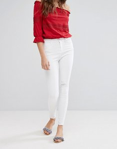 Read more about Miss selfridge frayed hem skinny jeans - white