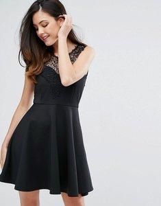Read more about Zibi london lace trim skirt skater dress - black