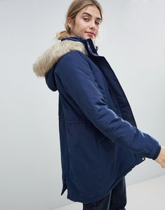 Read more about Jdy pebble parka coat with faux fur trim - dress blues