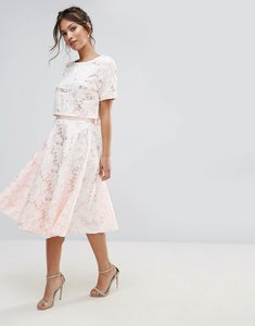 Read more about Amy lynn floral lace a line midi skirt - cream
