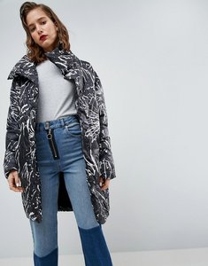 Read more about Asos cocoon puffer coat with mittens in mono print - multi