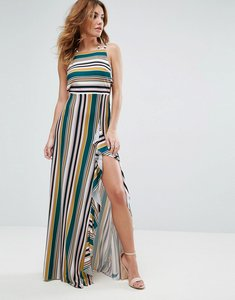 Read more about Asos striped strappy bow back maxi dress - multi