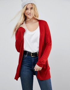 Read more about Asos cardigan in fine knit with rib detail - rust