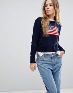Read more about Polo ralph lauren crop flag knit jumper - navy