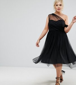 Read more about Asos curve dobby mesh one shoulder prom dress - black