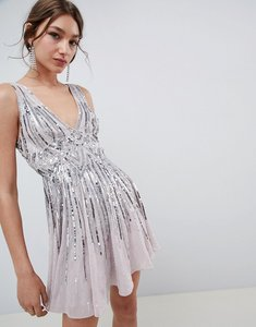 Read more about Asos design scattered sequin mini skater dress - ice grey