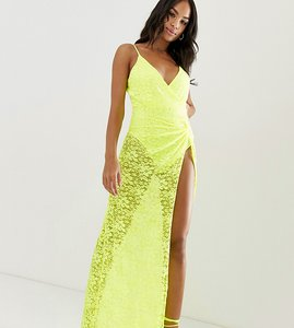 Read more about Asos design neon lace maxi dress with thigh high split