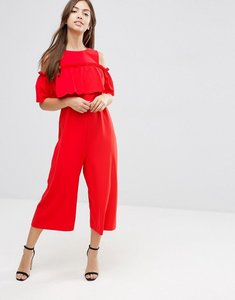 Read more about Asos jumpsuit with ruffle cold shoulder detail - red