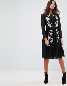 Read more about Asos premium pretty embroidered midi dress on dobby - black