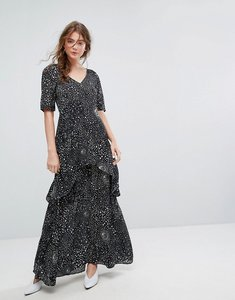 Read more about Lily and lionel tiered maxi dress in celestial print - black