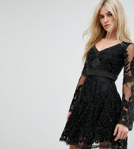 Read more about A star is born embellished mini skater dress with fluted sleeve - black