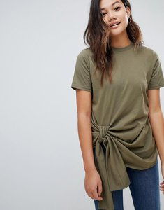 Read more about Asos design knot front t-shirt - khaki green