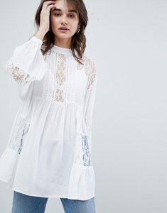 Read more about Asos design longline smock blouse with lace insert - ivory