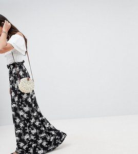 Read more about Asos tall maxi skirt with paperbag waist in mono floral print - mono