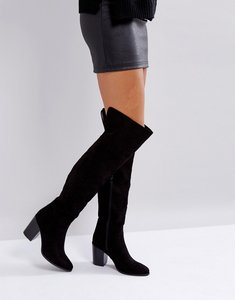 Read more about London rebel heeled over the knee boot - black micro