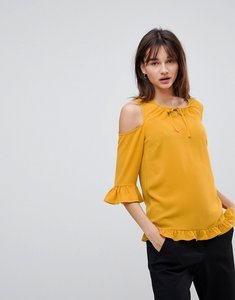 Read more about Y a s sussi cold shoulder blouse - mustard