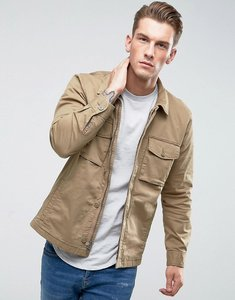 Read more about Abercrombie fitch military over shirt zip front in beige - khaki