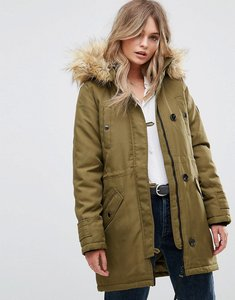Read more about Vero moda faux fur hooded parka - dark olive