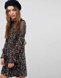 Read more about New look floral and sequin mesh tunic dress - black pattern