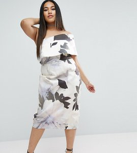 Read more about Asos curve one shoulder floral midi dress - multi