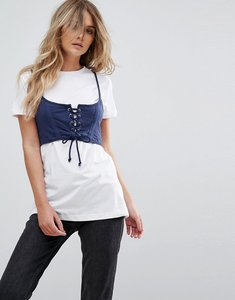 Read more about Brave soul maca t shirt with corset bralet - white indigo