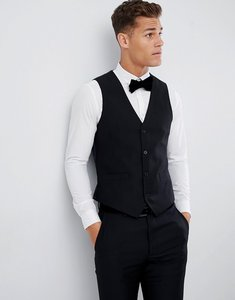 Read more about French connection slim fit peak collar tuxedo waistcoat - black
