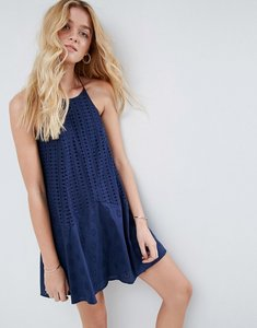 Read more about Asos broderie sundress with strappy back - navy
