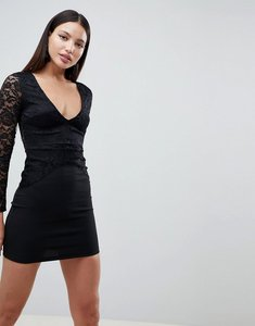 Read more about Ax paris long sleeve deep v shift dress with lace detail - black