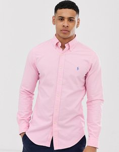 Read more about Polo ralph lauren player logo garment dye oxford button down shirt slim fit in pink