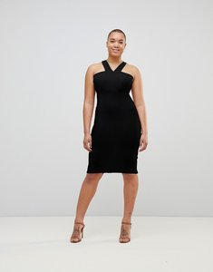 Read more about Asos 90s neck midi bodycon dress - black