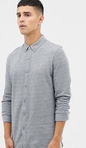 Read more about Farah kompis slim fit pique jersey shirt in grey - grey