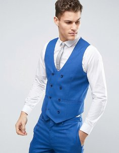 Read more about Asos wedding skinny suit waistcoat in blue micro texture - royal blue