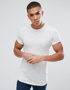 Read more about Asos muscle longline t-shirt with roll sleeve and curved hem in inject interest fabric - off white