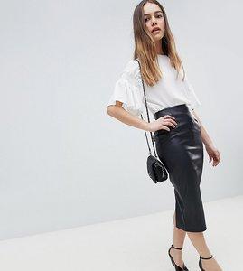 Read more about Asos design petite sculpt me leather look midi skirt - black