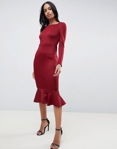 Read more about Club l peplum frill midi dress with boat neckline