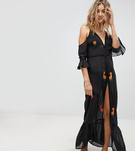 Read more about Akasa mesh embroidered panel beach maxi dress - black