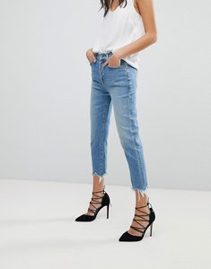 Read more about 7 for all mankind josefina high waist boyfriend jeans with distressed waist and hem - eclipse blue