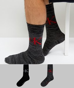Read more about Calvin klein crew socks vintage logo 2 pack black - black