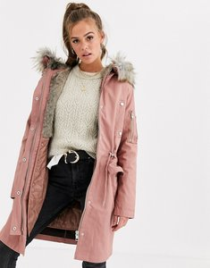 Read more about Asos design parka with detachable faux fur liner - pink