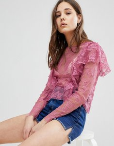 Read more about Glamorous lace top with frills - pink