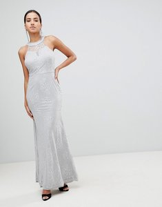 Read more about Ax paris high neck lace maxi dress - grey