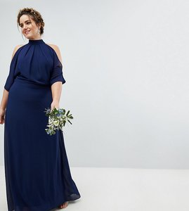 Read more about Tfnc plus high neck maxi bridesmaid dress with fishtail