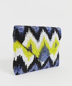 Read more about Clutch me by q hand beaded zig zag print clutch - blue yellow