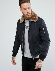 Read more about Schott air bomber jacket detachable faux fur collar slim fit in black beige - black beige