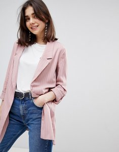 Read more about Stradivarius pinstripe soft tailored blazer - pink