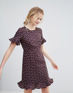 Read more about Traffic people printed dress with flute sleeve and frill hem - purple