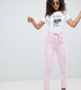 Read more about Asos design tall farleigh high waist mom jeans in washed pink with belt - pink