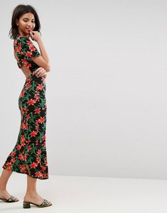 Read more about Asos maxi tea dress with open back detail in floral print - floral print