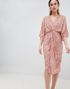 Read more about Asos design midi sequin kimono dress - dusty pink