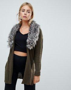 Read more about Brave soul hawk cardigan with detachable faux fur collar - khaki mink